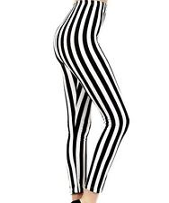 Beetlejuice Black & White Stripe Leggings Pants Goth Emo Punk Alternative Grunge