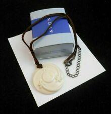 LOVELY AVON HAIKU AWAKENINGS CERAMIC NECKLACE ON BROWN CORD NOS WITH BOX