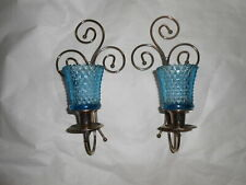 Home Interior Brass Plated Scroll Sconces/ Aqua Votive Cups Set of Two