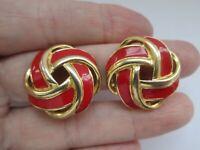 Vintage TRIFARI Christmas Red Enamel Ribbon Gold Tone Metal Clip On Earrings