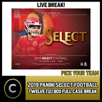 2019 PANINI SELECT FOOTBALL 12 BOX (FULL CASE) BREAK #F422 - PICK YOUR TEAM
