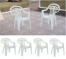 6 X plástico verde sillas de jardín patio bajo asiento