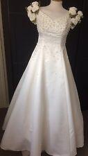 VINTAGE 90s  ELLIS BRIDAL WEDDING DRESS IVORY PEARL BEADED DETAIL S12