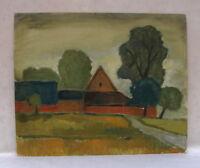 Gehöft Bauernhof mit Bäumen Landschaft Oel auf Malpappe 1970 Expressionsmus