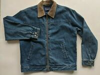 VTG Pendleton Sz M Denim Blue Jeans Jacket Aztec Wool Panel Western Wear Men's