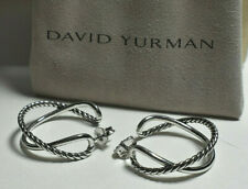 "David Yurman Sterling Silver Crossover 1.125"" Hoop Earrings & Pouch"