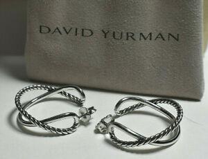 """David Yurman Sterling Silver Crossover 1.125"""" Hoop Earrings & Pouch"""