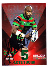 LOTE TUQIRI SOUTH SYDNEY RABBITOHS 2014 ESP NRL PREMIERS RED SIGNED CARD