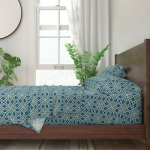 Moroccan Tiles Moroccan Boho Blue 100% Cotton Sateen Sheet Set by Roostery