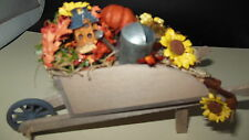 Dollhouse Handcrafted Fall Garden Wheelbarrow, bird houses,water can,gourds 1:12