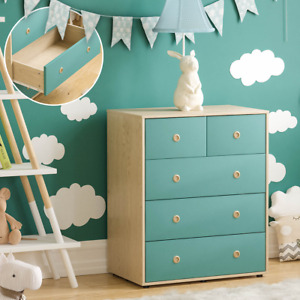 5 Drawer Chest of Drawers Bedroom Clothing Garment Storage Furniture Blue Kids