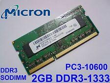 2GB DDR3L-1333 PC3L-10600 1333MHz MICRON MT8KTF25664HZ-1G4M1 LAPTOP MEMORY RAM