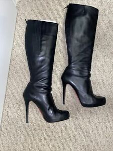 Christian Louboutin Babel Plato 140 Knee High Black Leather Platform Boots 40