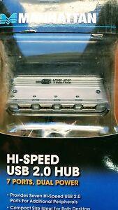 Manhattan Hi-Speed USB 2.0 Hub with 7 Ports and Dual Power