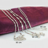 18k White Gold Filled Chain, Twisted Design, 45 cm, 60 cm or 80 cm