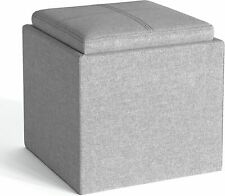 Rockwood 17 inch Wide Cube Storage Ottoman with Tray in Cloud Grey (M4)