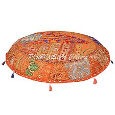 Decorative Handmade Embroidered Cotton Cushion Cover Indian Ottoman Pouf Cover
