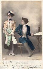 BK707 Carte postale Photo vintage card RPPC couple fantaisie Idylle Parisienne