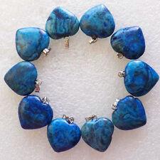 10 Beautiful Blue Crazy Lace Agate Heart Pendant Bead N7407