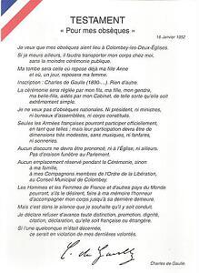 CHARLES DE GAULLE TESTAMENT