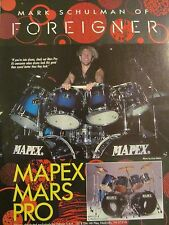 Foreigner, Mark Schulman, Mapex Drums, Full Page Vintage Promotional Ad