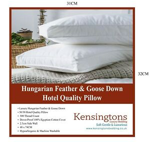 Kensingtons® Hungarian Goose Feather & Down Pillow 500 Fill Power Hotel Quality