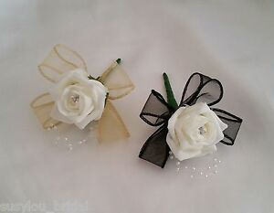 Wedding Buttonholes-Ivory Or White Rose, Pearls Diamantes Various Ribbon Colours