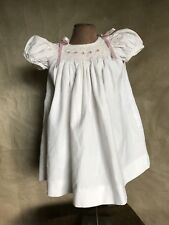 Baroni Italy Baby Girl Smocked Dress Ivory Cotton Party Special Occasion 12 mo