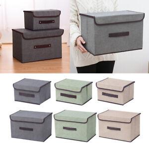 Foldable Storage Bin with Lid, Fabric Decorative Storage Box Organizer