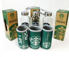 Starbucks Glasses Water Bottle Cup + Pouch 1Set