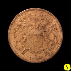 1864 Large Motto Two Cent Piece, VG Details, Cleaned, First Year Civil War #32
