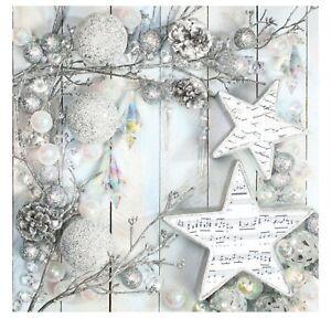 Christmas Napkins for Decoupage Paper Craft Serviettes Silver 33x33cm 3PLY x 20