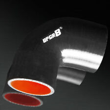 UPGR8 4-PLY 2.5'' to 3.0'' 90 Degree Reducer Coupler Silicone Hose Elbow BLACK