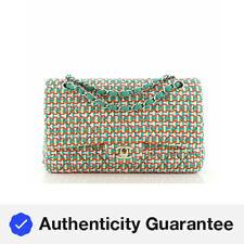 Chanel Clásico Bolso De Doble Tapa Acolchada Tweed Multicolor Medio