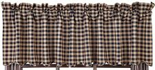 Primitive Country Navy Check Valance 72X16 Lined Cotton Check Size 1/2""