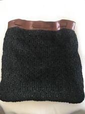 Vintage Carla Marchi Woven Black Raffia Brown Leather Backpack Purse Handbag