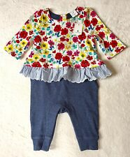Baby Gap Baby Girl 0-3 Months Little Artist Triple Layer Floral One Piece New