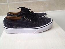 Boys black/grey stripy vans size UK1