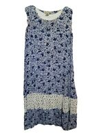 Victoria Holley Blue White Sleeveless Floral Spring Summer Dress Medium Maxi M