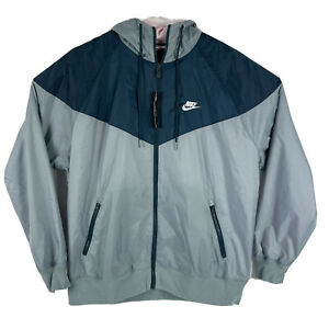 Nike Sportswear Windrunner Hooded Windbreaker Aviator Gray Blue Nightshade Large