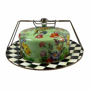 MacKenzie Childs Green Flower Market Cake Saver Carrier on Courtly Check Platter