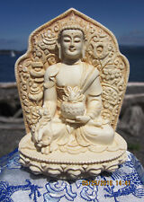 BELOVED VERY DETAILED IVORY-LIKE TIBETAN BUDDHIST MEDICINE BUDDHA STATUE USA
