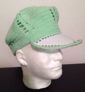 HANDMADE beanie hat newsboy peaked visor cap Green knit crochet cabbie Pom Pom