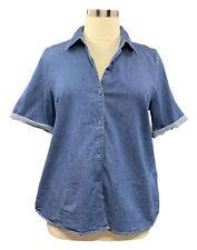 DENIM&CO size L medium wash blue short sleeve button up denim shirt
