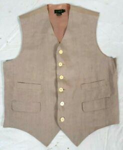 #261 J CREW 100% Linen 3 Pocket Lined Suit Vest Waistcoat Mens Medium Beige