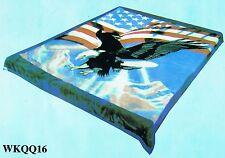 Blanket throw soft Mink Plush queen size Korean style American USA Flag Eagle