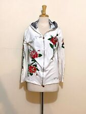 ED HARDY • White Hooded Rose Jumper with Silver Foil Detail • Size XL