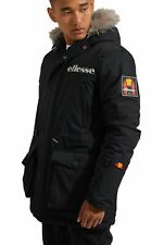 Ellesse Mazzo Faux Fur Parka Jacket Mens Warm Hooded Padded Winter Coat Black