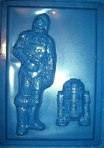 LARGE RECTANGLE WITH STAR WARS R2D2 AND C3PO CHOCOLATE MOULD OR PLASTER MOULD