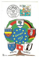 CP 68 ALSACE EUROPA 1993  ILLUSTRATEUR PATRICK HAMM OBLI. WEIL AM RHEIN ALLEMAG.